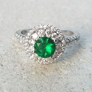 Jewelry - Emerald Quartz & Topaz Sterling Silver 925 Ring